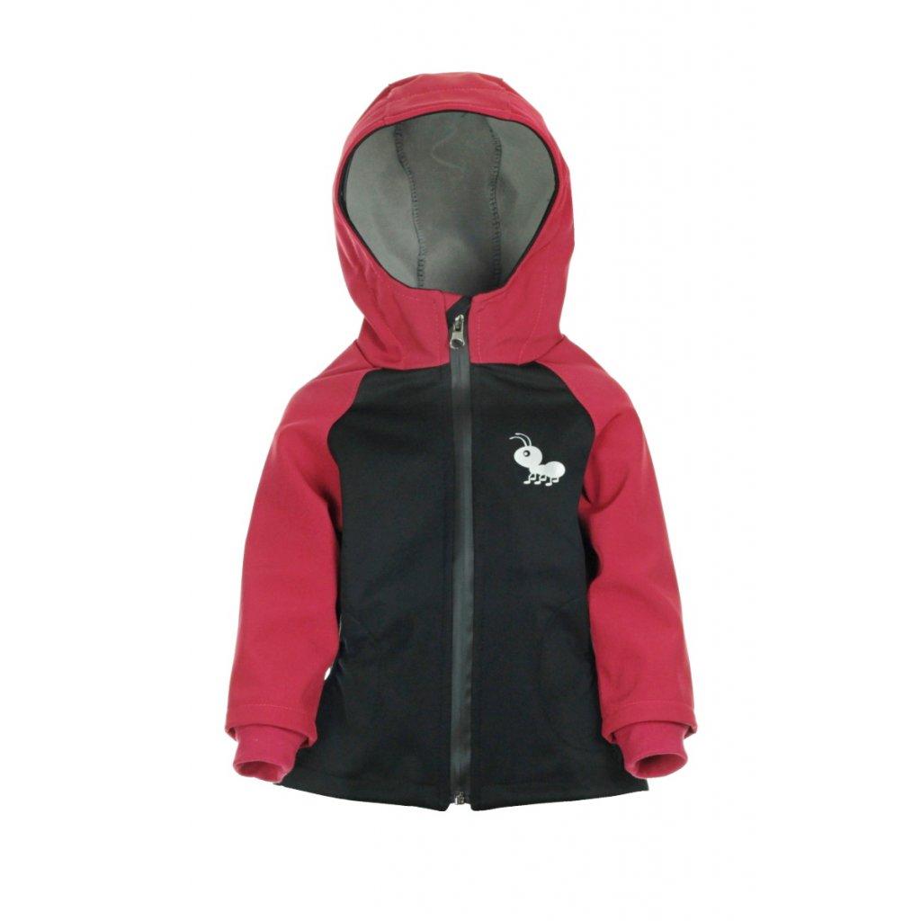 Detská softshellová bunda Čierno-červená
