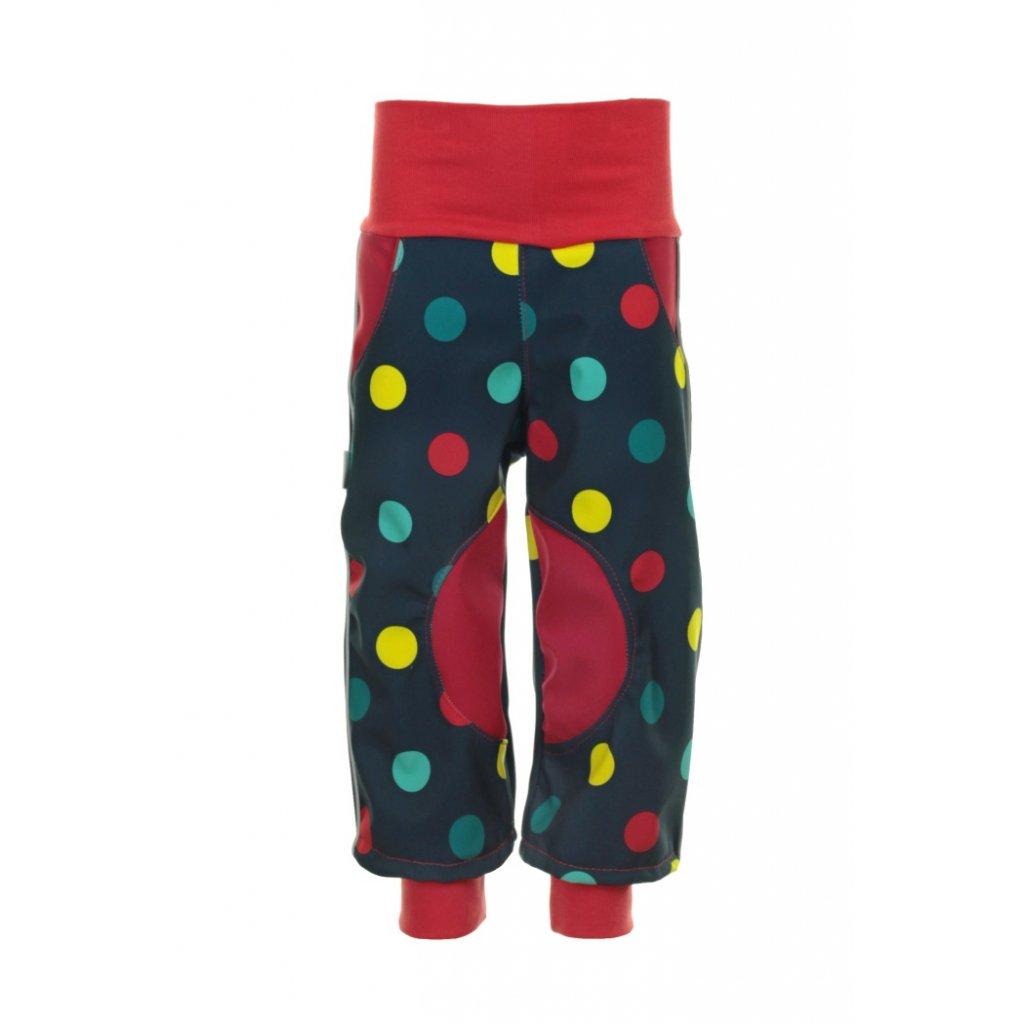 Detské softshellové nohavice Bodky