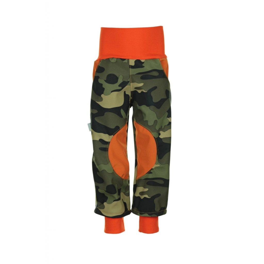 Detské softshellové nohavice Zelený maskáč
