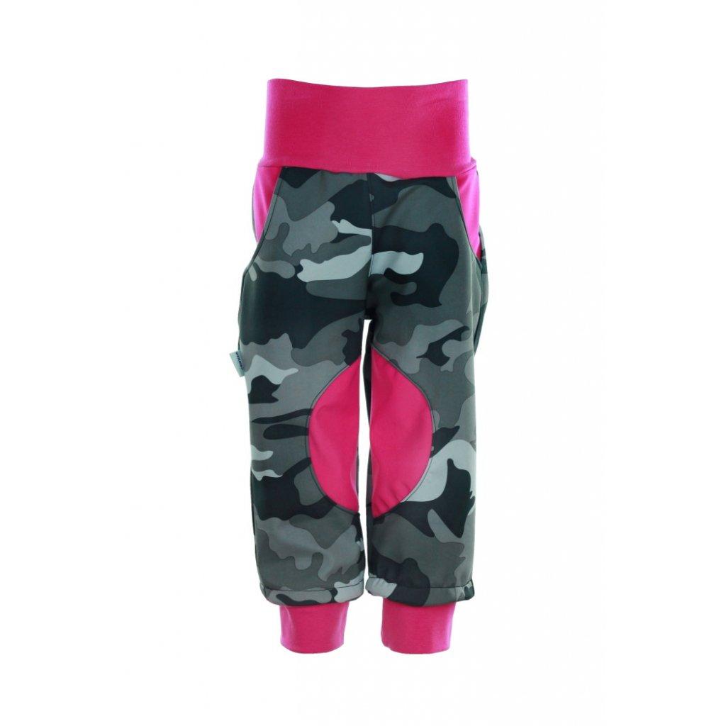 Zateplené softshellové nohavice Maskáč dievčatá