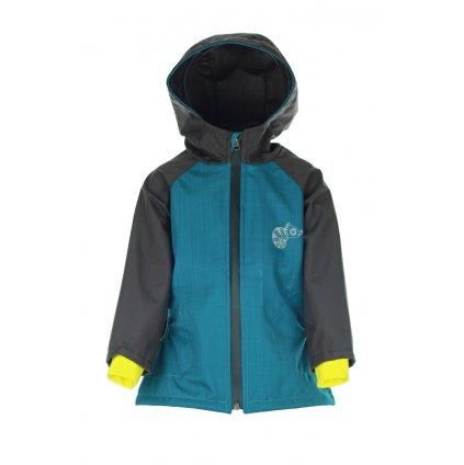 Detská softshellová bunda Petrolejovo-hnedá