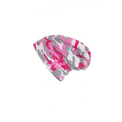 Dvojvrstvová čiapka Ružový maskáč