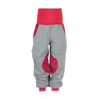 Zateplené softshellové nohavice Šedo-červené