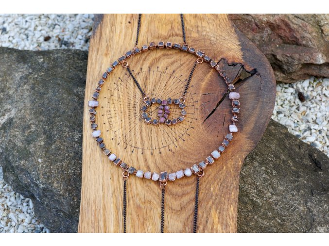 Mandala s morganitem, pyritem, růžovým turmalínem a selenitem