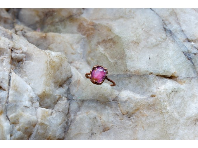 Prsten s růžovým turmalínem vel. 50