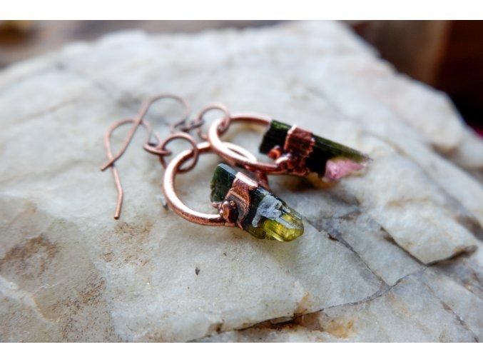 Náušnice s růžovo zelenými turmalíny