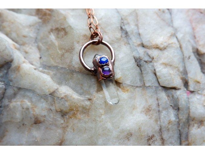 Přívěsek se záhnědou, lapis lazuli a ametystem