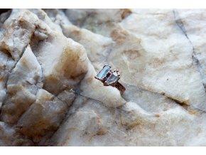 Prsten s akvamarínem a tibetským křišťálem vel. 49 - 50