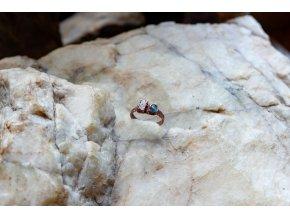 Prsten s růžovým turmalínem a neonovým apatitem vel. 52