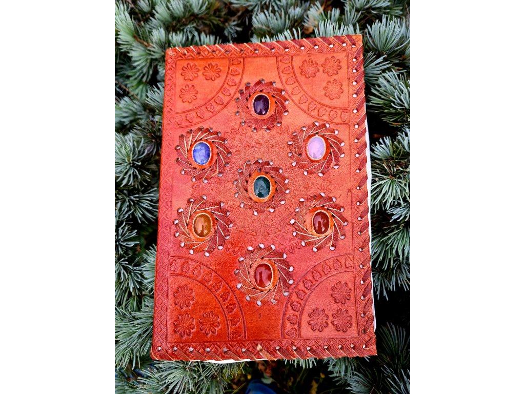 Kožený deník - drahé kameny