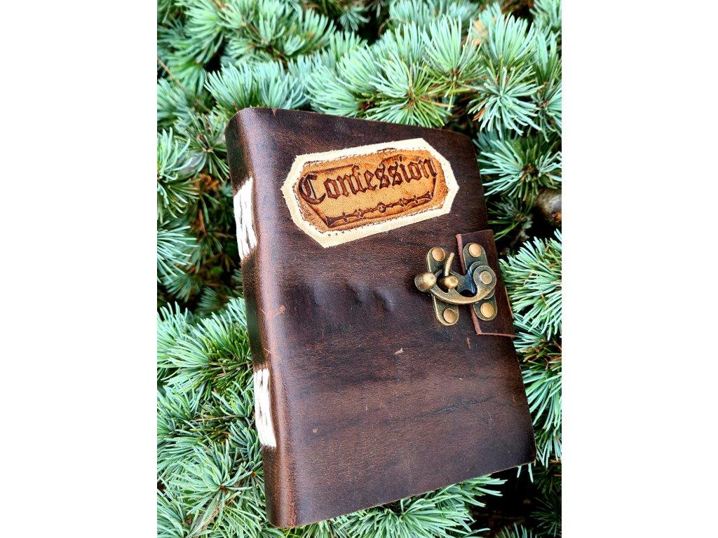 Kožený deník - kovové zapínání