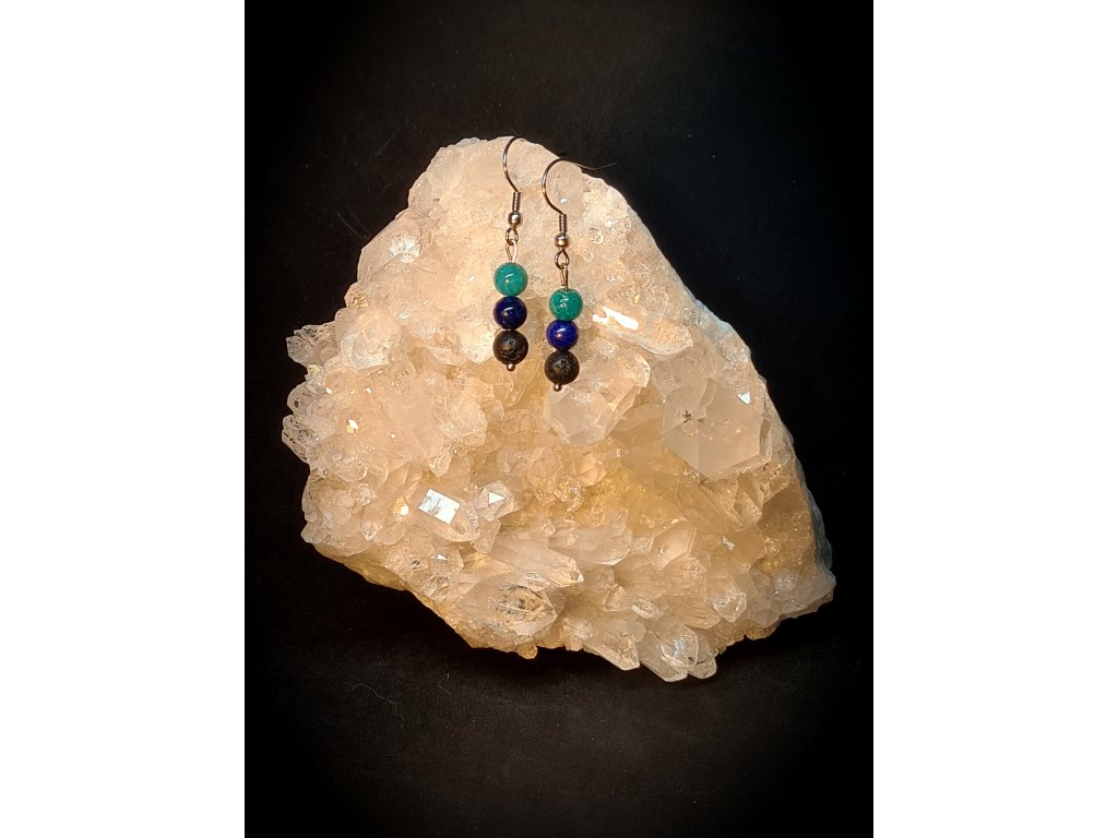 Naušnice-lapis  lazuli-amazonit-lávový kámen