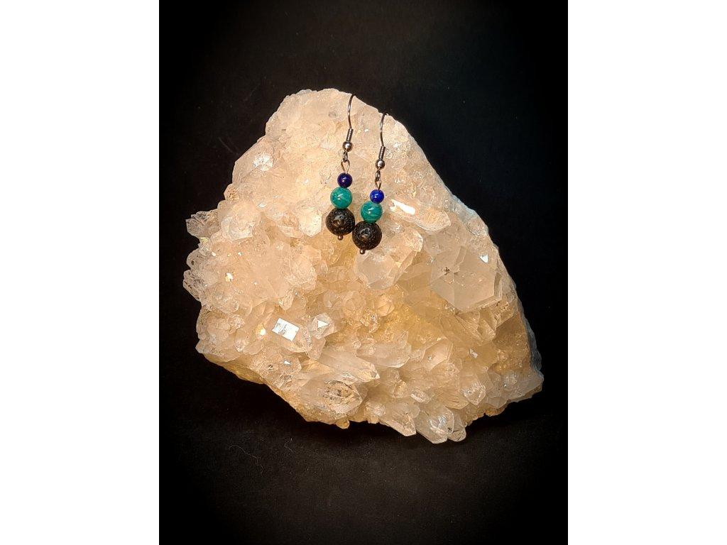 Naušnice  - amazonit-lapis lazuli- lávový kámen