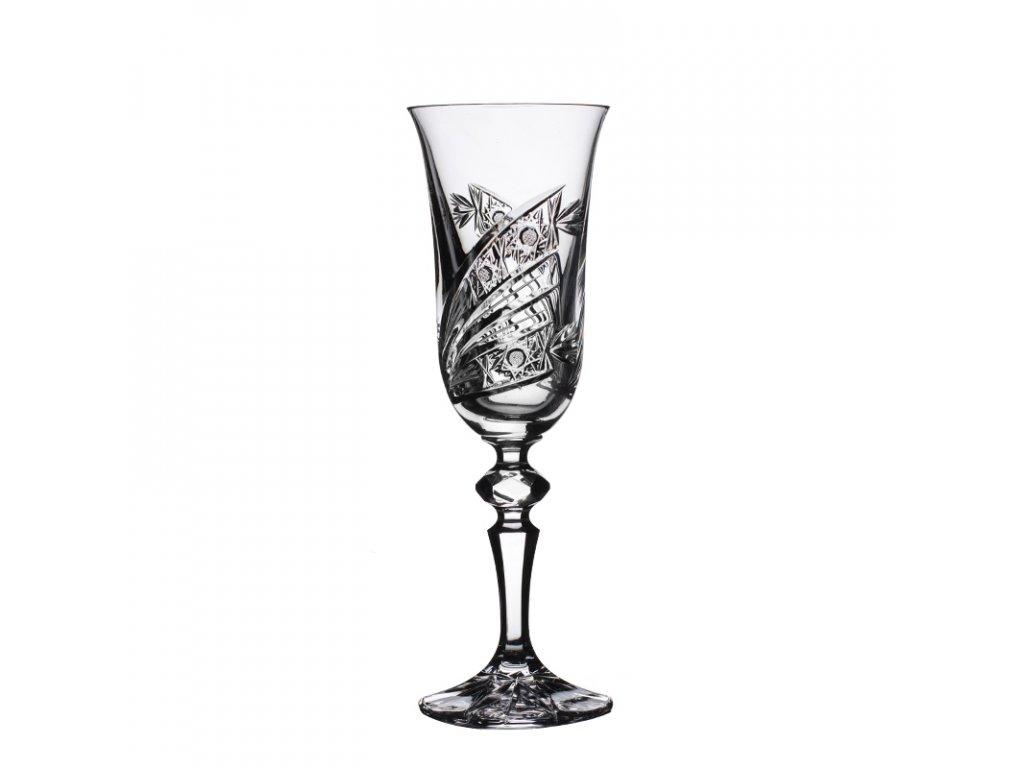 Broušené sklenice Laura na šampaňské-flétny. 6 ks. Brus kometa.