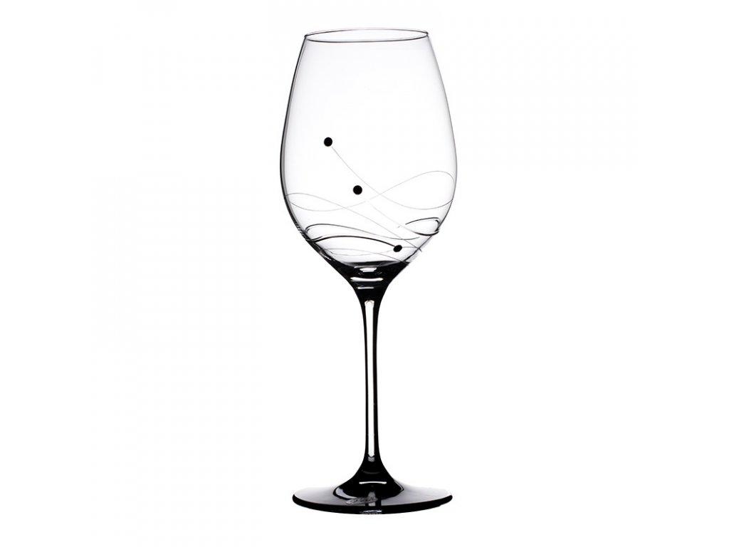 Sklenice na bílé víno Vanesa black - 6 ks. Swarovski