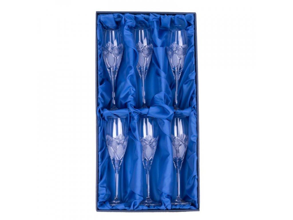 Broušené sklenice Fiona na šampaňské-flétny. 6 ks. Brus Paříž.