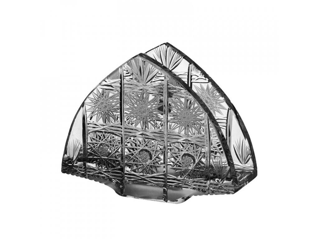 Broušené sklo, stojánek na ubrousky. Klasický brus 500 PK.