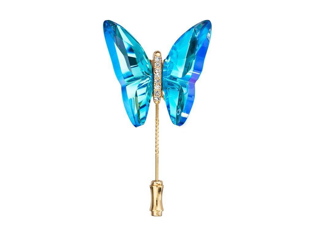Brož Papillon ve tvaru motýla z českého křišťálu Preciosa - modrá