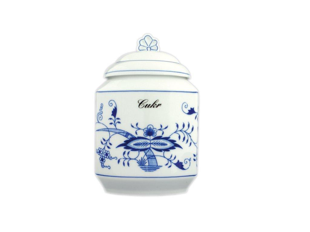 Dóza na poživatiny s víčkem a nápisem - cibulový porcelán 70144
