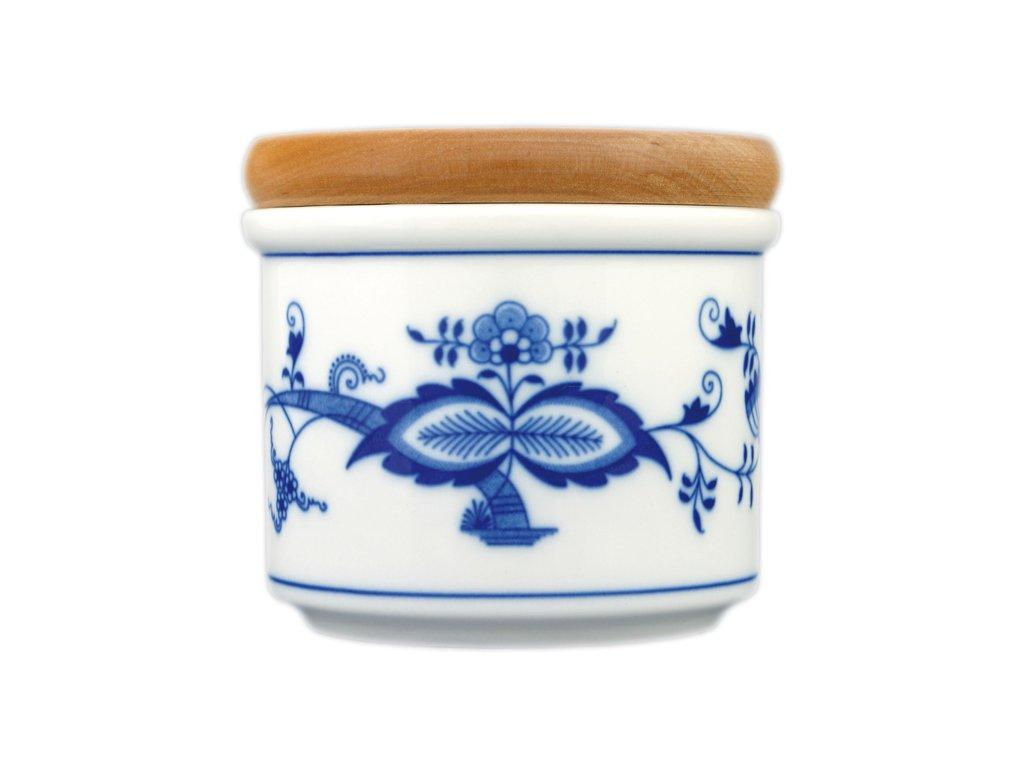 Dóza s dřevěným uzávěrem A - malá - cibulový porcelán 10474