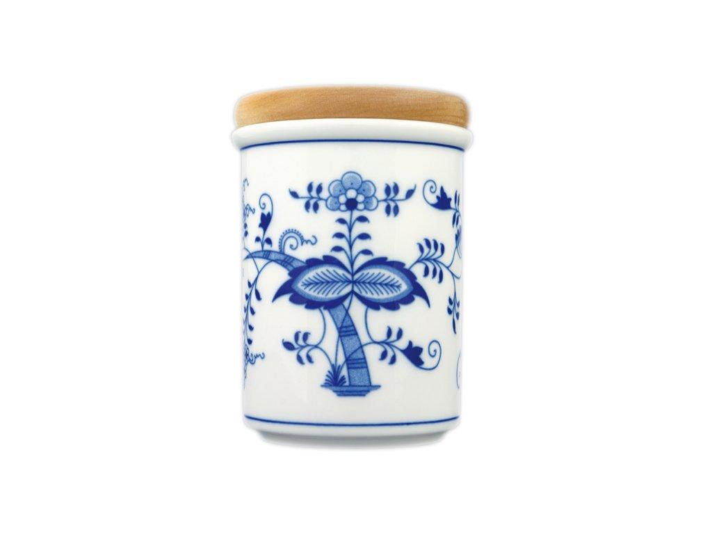 Dóza s dřevěným uzávěrem C - velká - cibulový porcelán 10476