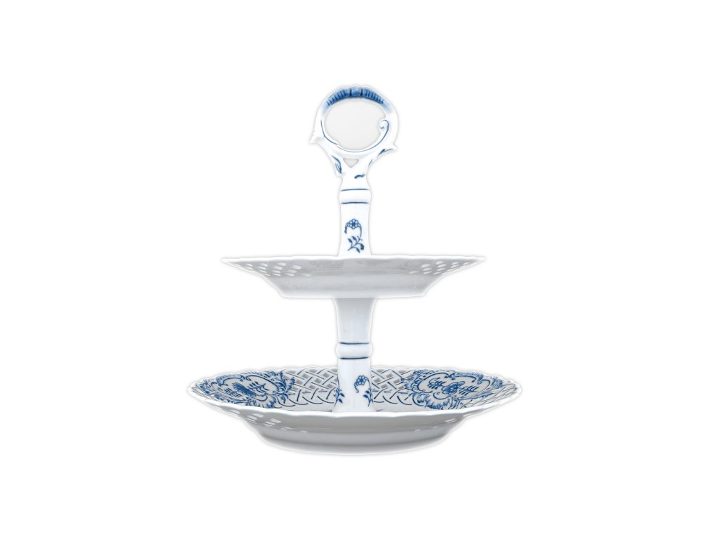 Etažér 2-dílný - talíře prolam. / porc. tyčka - cibulový porcelán 70314