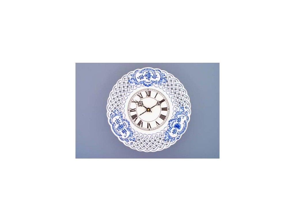 Hodiny prolamované se strojkem 27 cm - cibulový porcelán 10340