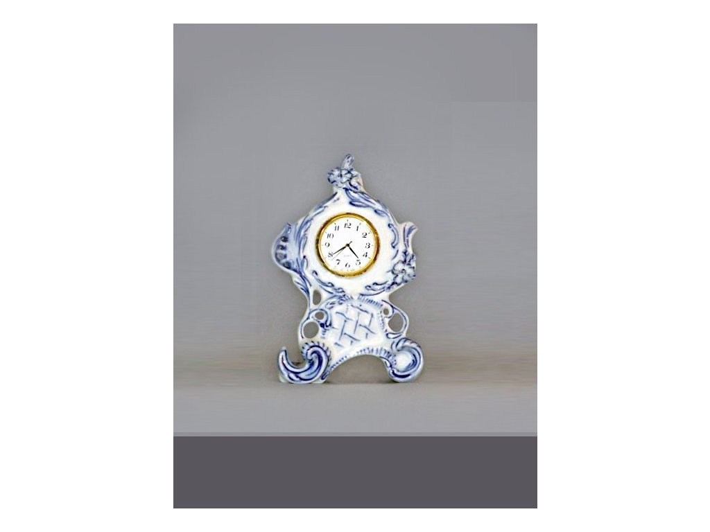 Hodiny Vlasta mini se strojkem - cibulový porcelán 10614