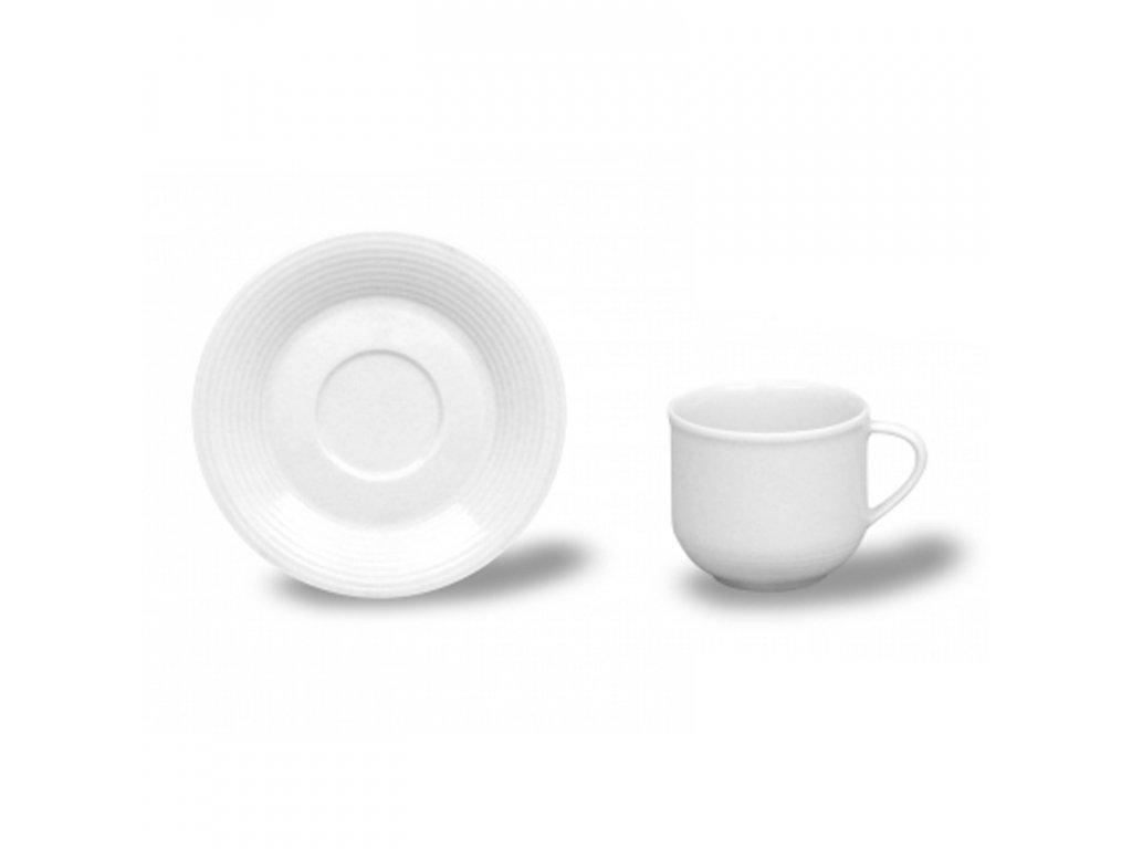 Kávové šálky s podšálkem, Thun 1794, karlovarský porcelán, Catrin bílý, nedekorovaný 6ks.