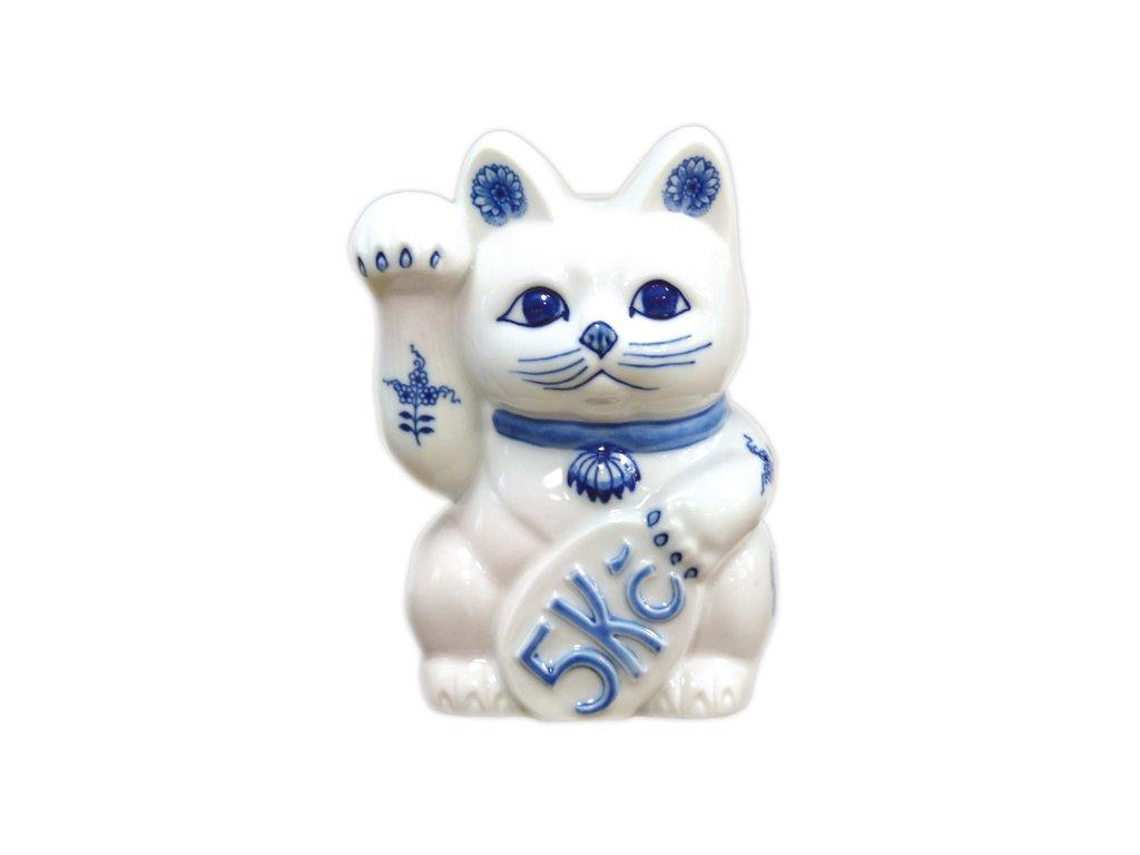 Kočka zvací - pokladnička - cibulový porcelán 10462
