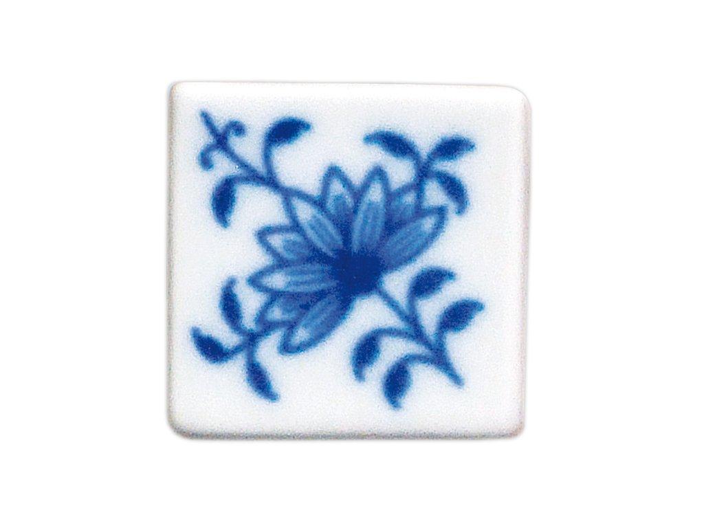 Magnetka - vitráž čtvereček - cibulový porcelán 70670