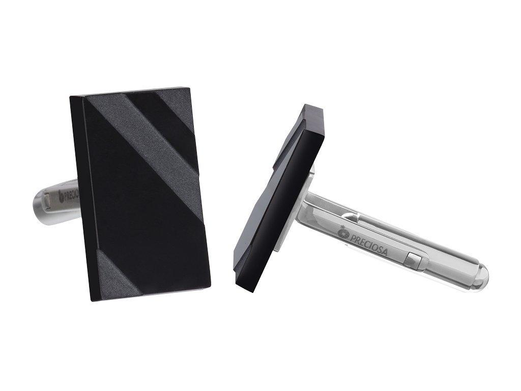 Manžetové knoflíky z chirurgické oceli Kevin - černé