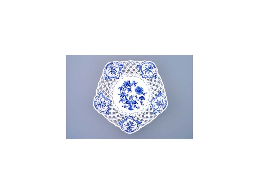 Mísa pětihranná prolamovaná 28cm- cibulový porcelán 10161