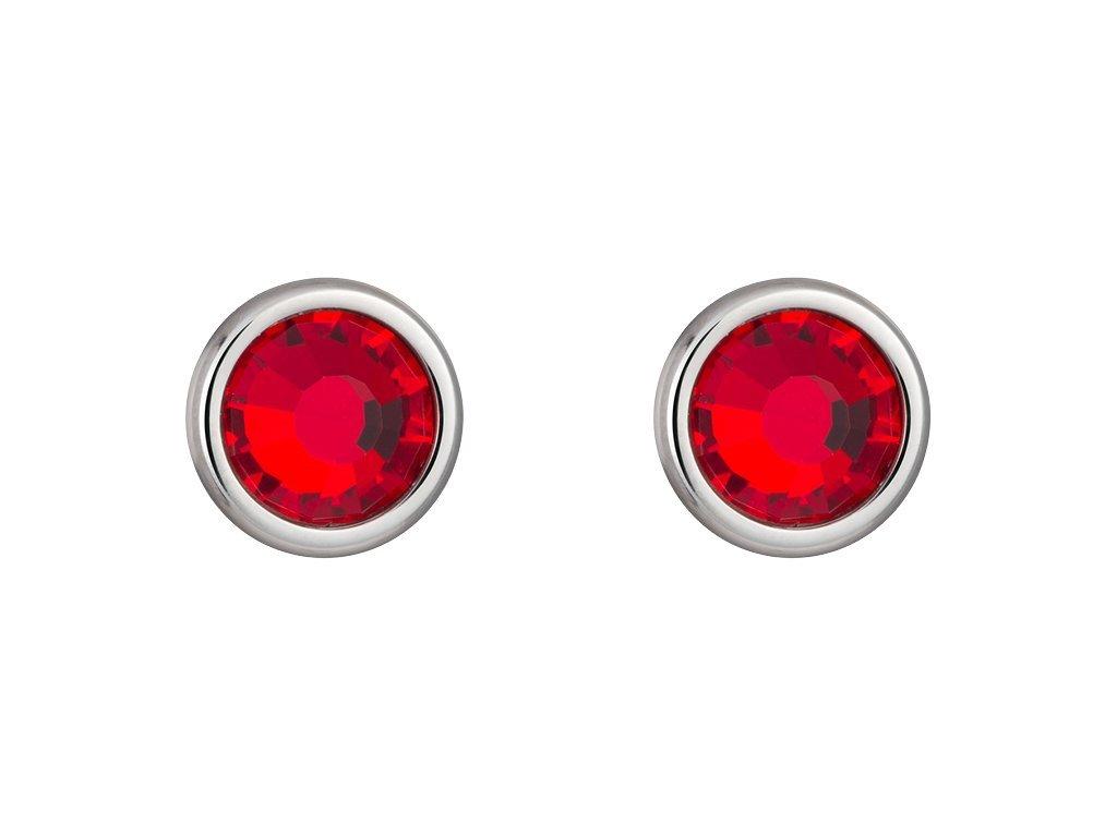 Náušnice z chirurgické oceli Carlyn s českým křišťálem Preciosa - červené