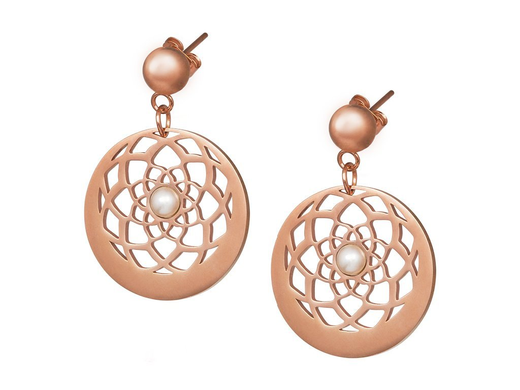 Náušnice z chirurgické oceli Flower of Love s pravou říční perlou - růžové