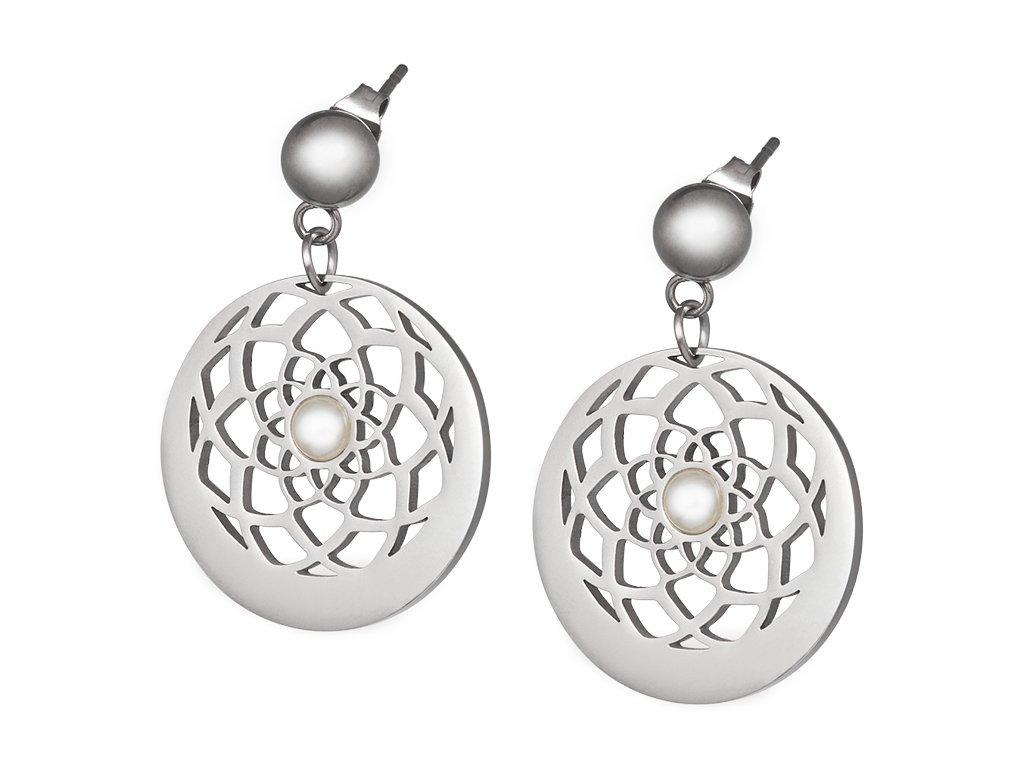Náušnice z chirurgické oceli Flower of Love s pravou říční perlou - stříbrné