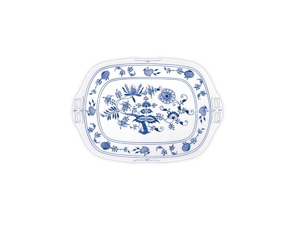 Podnos čtyřhranný s uchy - cibulový porcelán 10091