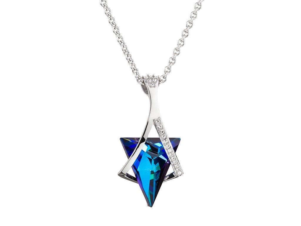 Přívěsek z chirurgické oceli Mystique s českým křišťálem Preciosa - modrý