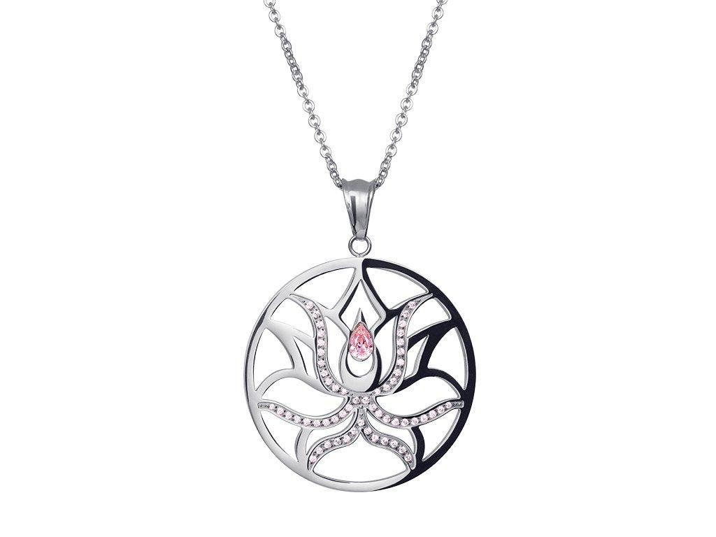 Přívěsek z chirurgické oceli Lotus Flower s kubickou zirkonií - stříbrný