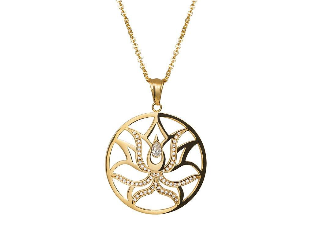 Přívěsek z chirurgické oceli Lotus Flower s kubickou zirkonií - zlatý
