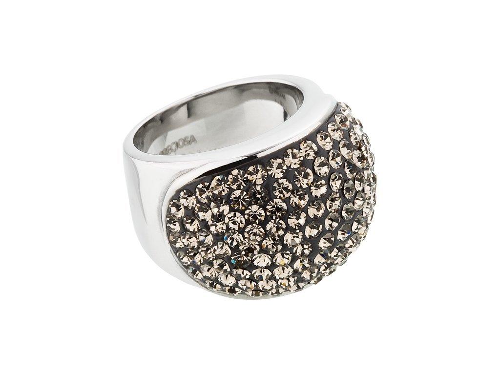 Prsten z chirurgické oceli Brillant s českým křišťálem Preciosa - šedý