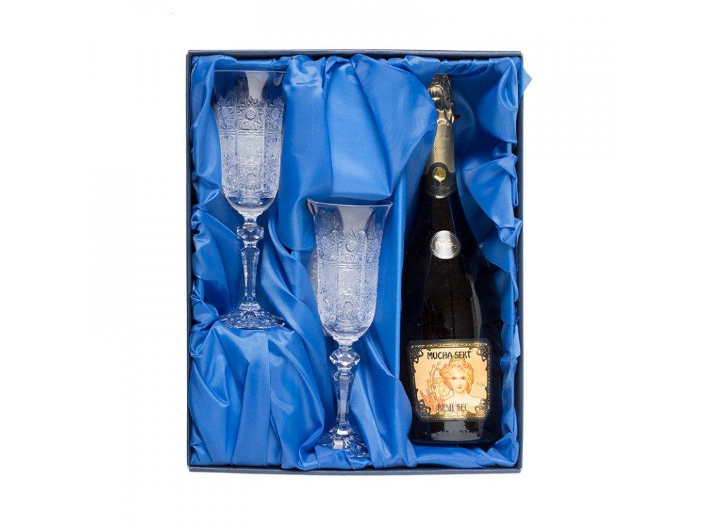 Šampus set, lahev značkového sektu Mucha a 2ks. broušených skleniček