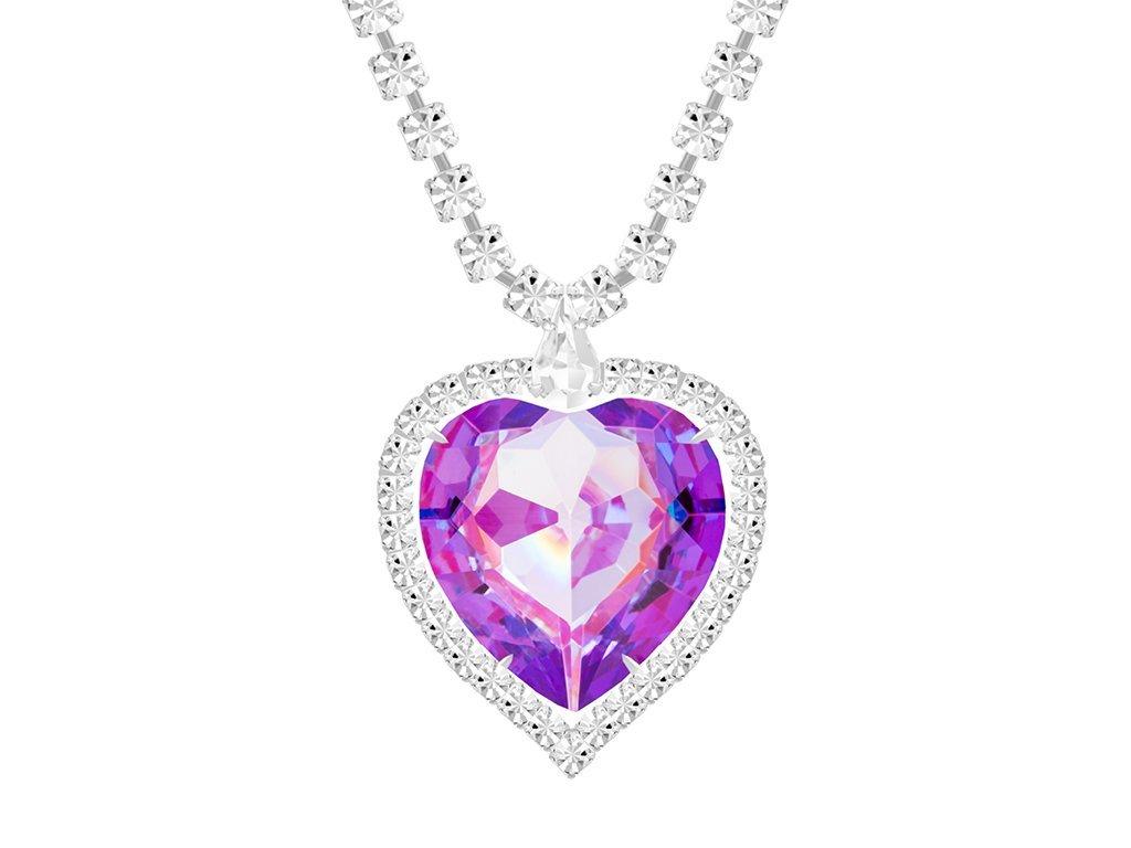 Štrasový náhrdelník ve tvaru srdce s českým křišťálem Preciosa - fialový
