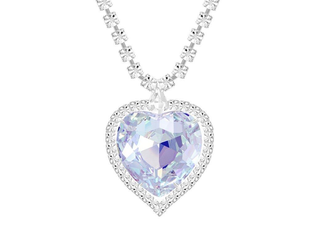 Štrasový náhrdelník ve tvaru srdce s českým křišťálem Preciosa - krystal