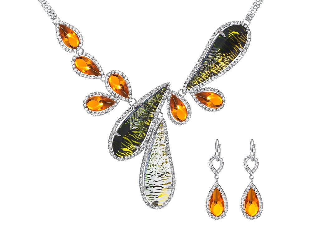 Štrasový set Thyra by Veronika s českým křišťálem Preciosa - oranžový