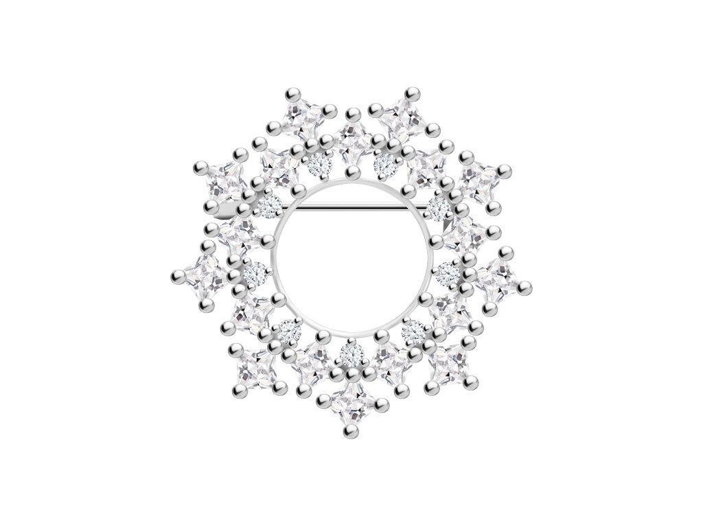 Stříbrná brož Orion s kubickou zirkonií Preciosa 5259 00