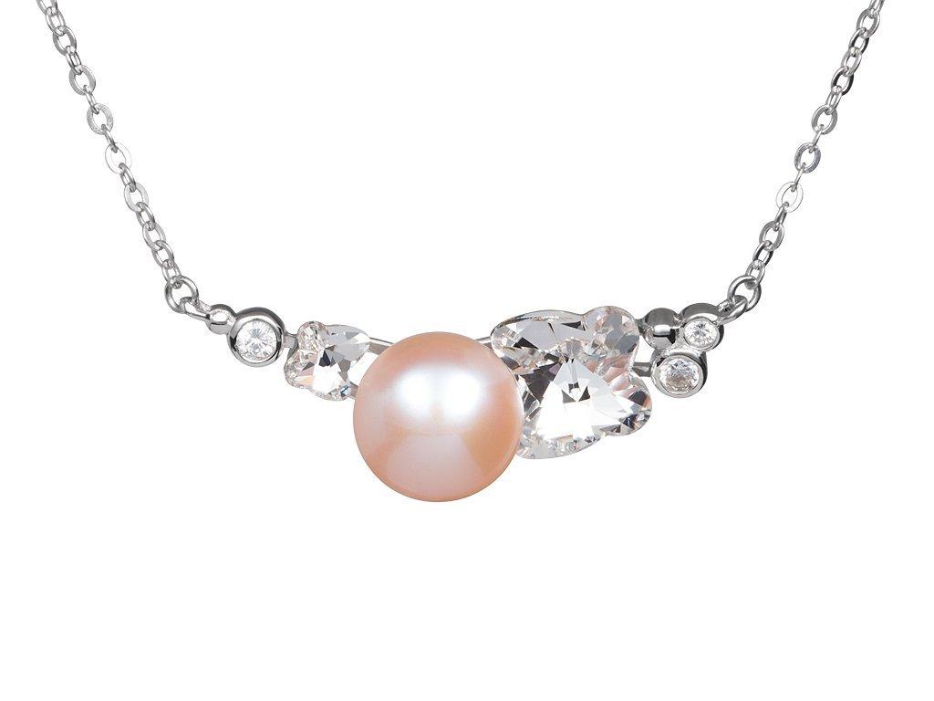 Stříbrné náhrdelník Gentle Passion s říční perlou Preciosa