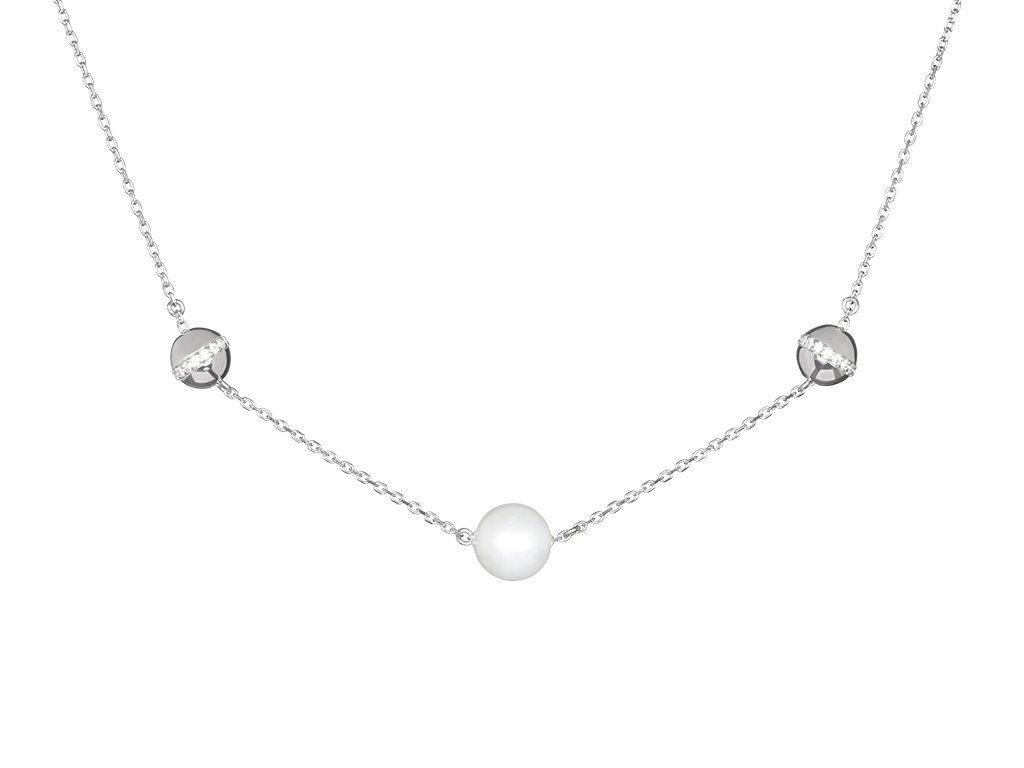 Stříbrné náhrdelník Moonlight Dew s říční perlou Preciosa
