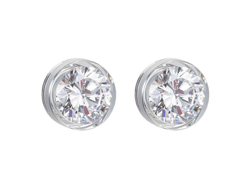 Stříbrné náušnice Brilliant Star s kubickou zirkonií Preciosa - bílé