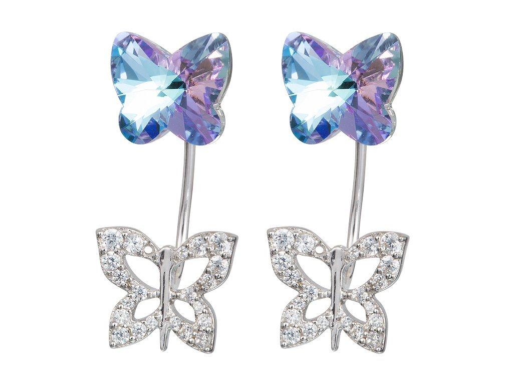 Stříbrné náušnice Butterfly Harmony s motýly z českého křišťálu Preciosa - velké